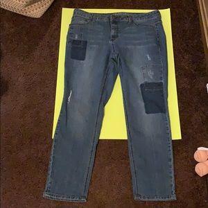 Denim - (Women's) Patchwork Jeans Size 14